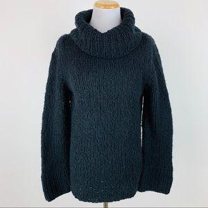 Express Black Handknit Chunky Turtleneck Sweater M